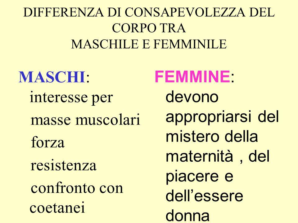 DIFFERENZA DI CONSAPEVOLEZZA DEL CORPO TRA MASCHILE E FEMMINILE MASCHI: interesse per masse muscolari forza resistenza confronto con coetanei FEMMINE: