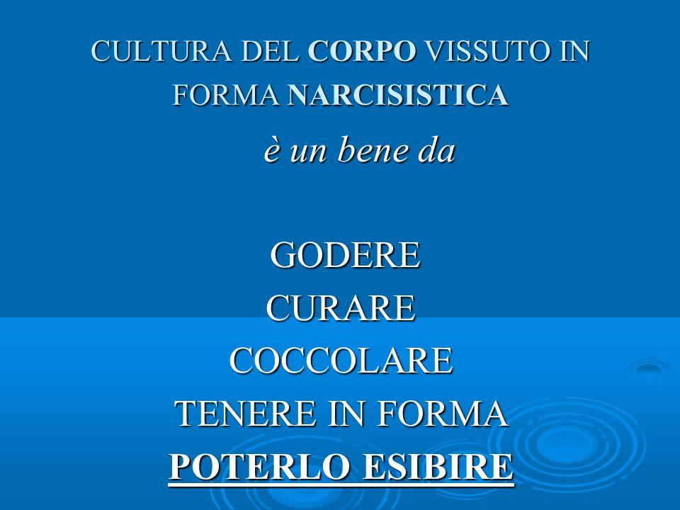 CULTURA DEL CORPO VISSUTO IN FORMA NARCISISTICA è un bene da è un bene da GODERE GODERECURARECOCCOLARE TENERE IN FORMA POTERLO ESIBIRE