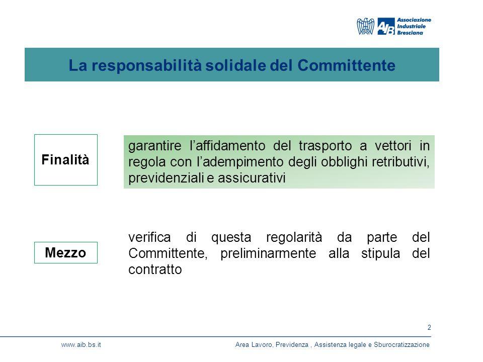 2 www.aib.bs.itArea Lavoro, Previdenza, Assistenza legale e Sburocratizzazione La responsabilità solidale del Committente garantire l'affidamento del trasporto a vettori in regola con l'adempimento degli obblighi retributivi, previdenziali e assicurativi verifica di questa regolarità da parte del Committente, preliminarmente alla stipula del contratto Finalità Mezzo