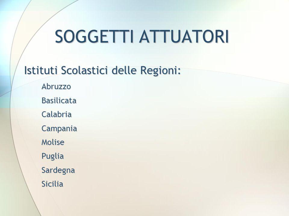 SOGGETTI ATTUATORI Istituti Scolastici delle Regioni: Abruzzo Abruzzo Basilicata Basilicata Calabria Calabria Campania Campania Molise Molise Puglia P