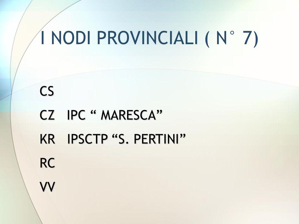 """I NODI PROVINCIALI ( N° 7) CS CZ IPC """" MARESCA"""" KR IPSCTP """"S. PERTINI"""" RCVV"""