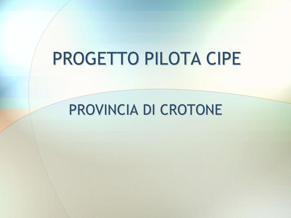 PROGETTO PILOTA CIPE PROVINCIA DI CROTONE