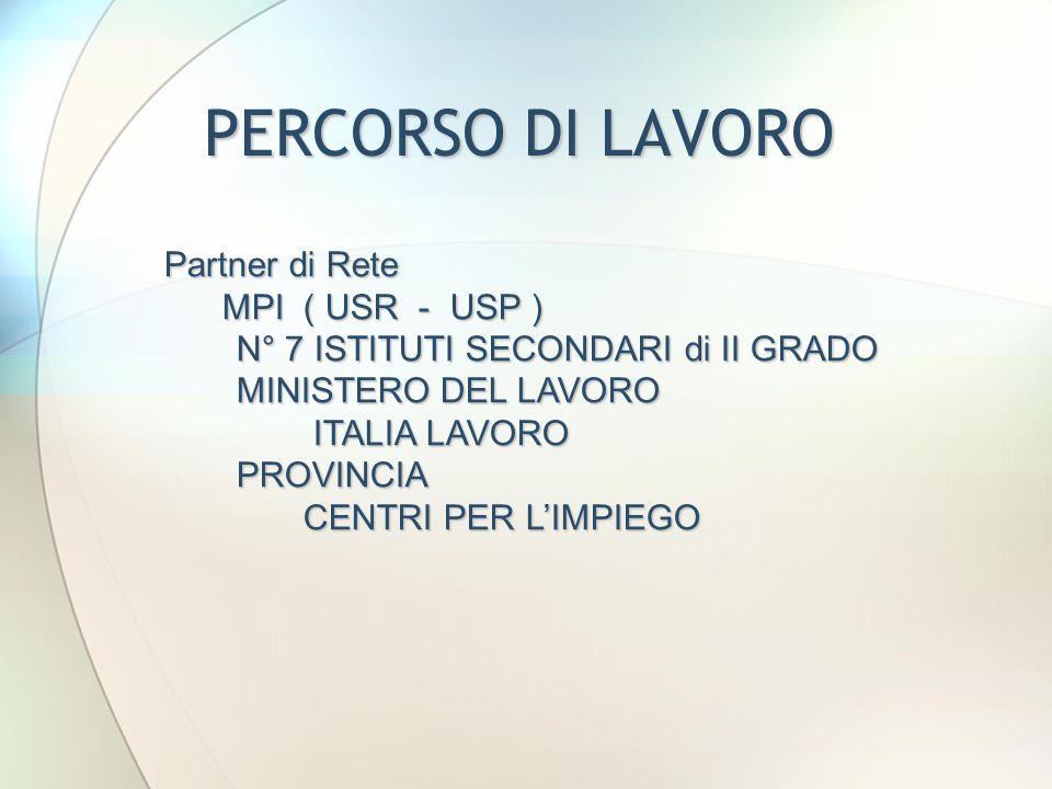 PERCORSO DI LAVORO Partner di Rete MPI ( USR - USP ) MPI ( USR - USP ) N° 7 ISTITUTI SECONDARI di II GRADO N° 7 ISTITUTI SECONDARI di II GRADO MINISTE