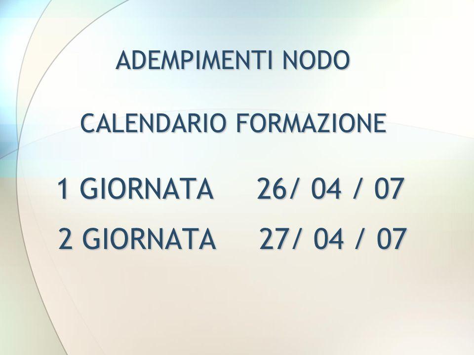 ADEMPIMENTI NODO CALENDARIO FORMAZIONE 1 GIORNATA 26/ 04 / 07 2 GIORNATA 27/ 04 / 07 2 GIORNATA 27/ 04 / 07