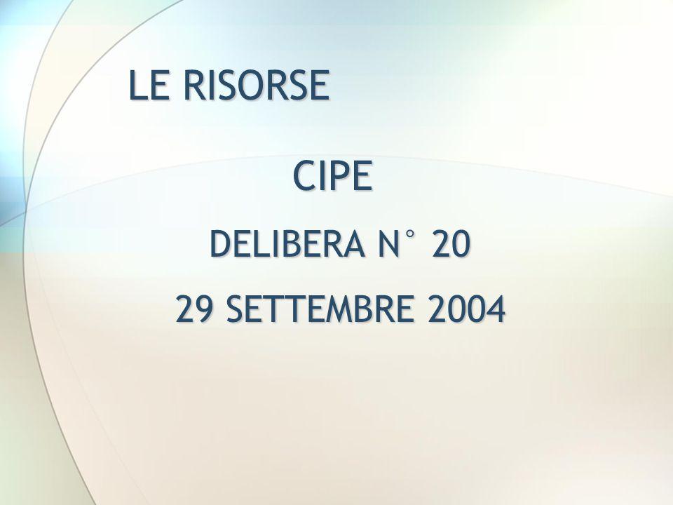 LE RISORSE CIPE DELIBERA N° 20 DELIBERA N° 20 29 SETTEMBRE 2004 29 SETTEMBRE 2004