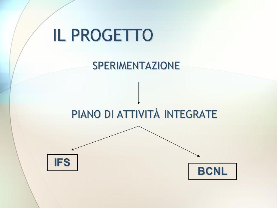 IL PROGETTO SPERIMENTAZIONE PIANO DI ATTIVITÀ INTEGRATE PIANO DI ATTIVITÀ INTEGRATE BCNL IFS