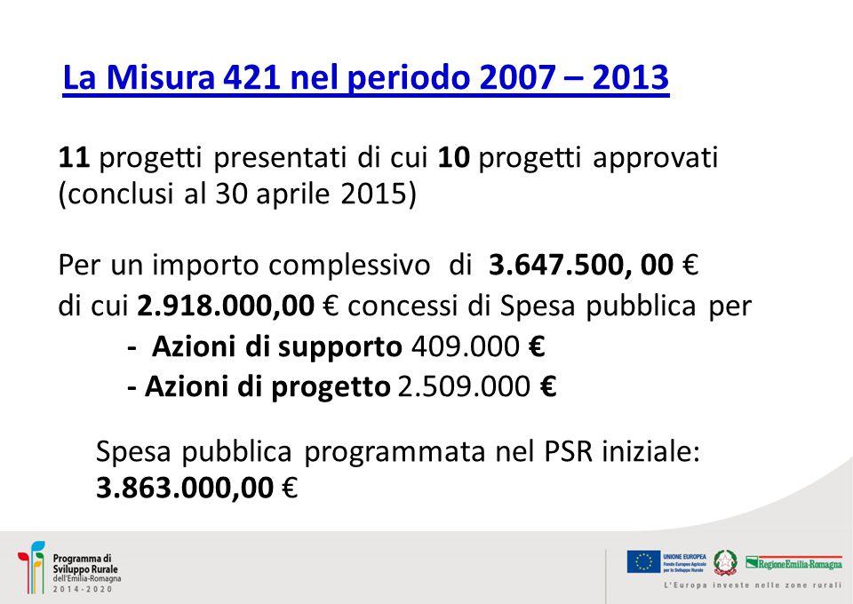 Spesa pubblica programmata nel PSR iniziale: 3.863.000,00 € Per un importo complessivo di 3.647.500, 00 € di cui 2.918.000,00 € concessi di Spesa pubblica per - Azioni di supporto 409.000 € - Azioni di progetto 2.509.000 € 11 progetti presentati di cui 10 progetti approvati (conclusi al 30 aprile 2015) La Misura 421 nel periodo 2007 – 2013