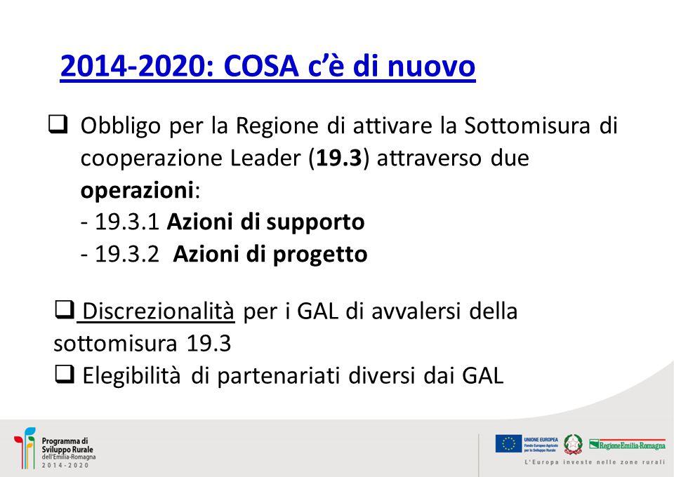 2014-2020: COSA c'è di nuovo  Obbligo per la Regione di attivare la Sottomisura di cooperazione Leader (19.3) attraverso due operazioni: - 19.3.1 Azioni di supporto - 19.3.2 Azioni di progetto  Discrezionalità per i GAL di avvalersi della sottomisura 19.3  Elegibilità di partenariati diversi dai GAL