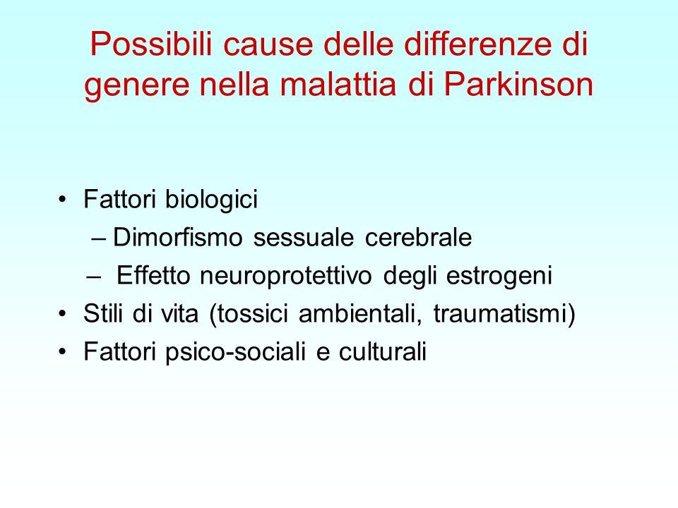 Possibili cause delle differenze di genere nella malattia di Parkinson Fattori biologici –Dimorfismo sessuale cerebrale – Effetto neuroprotettivo degli estrogeni Stili di vita (tossici ambientali, traumatismi) Fattori psico-sociali e culturali