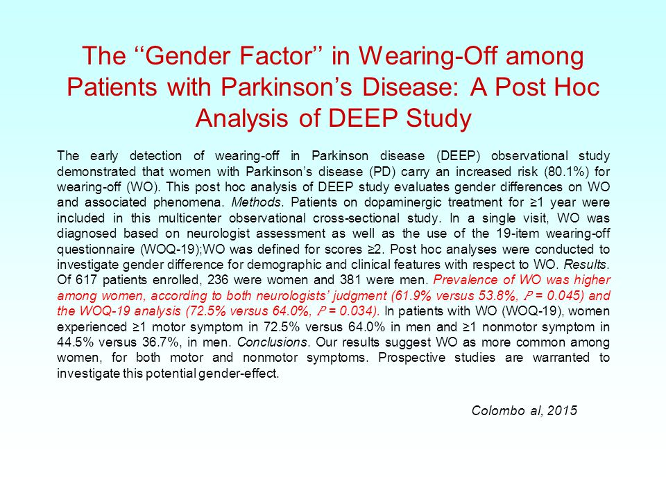 The ''Gender Factor'' in Wearing-Off among Patients with Parkinson's Disease: A Post Hoc Analysis of DEEP Study The early detection of wearing-off in