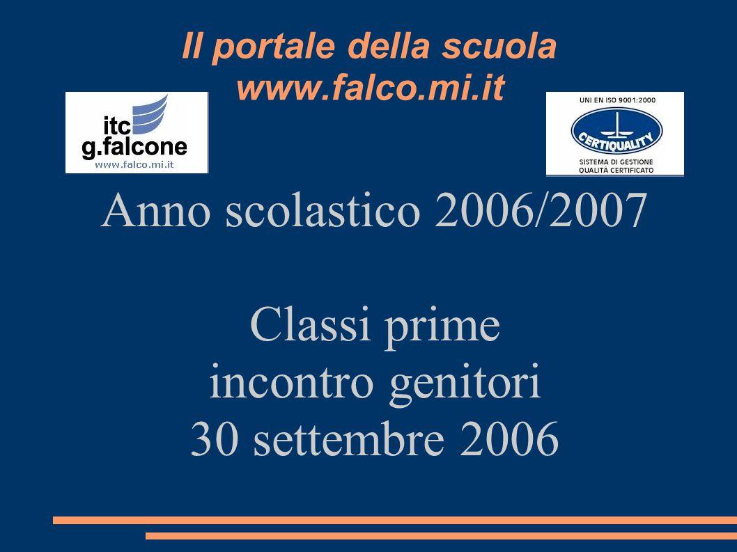 Il portale della scuola www.falco.mi.it Anno scolastico 2006/2007 Classi prime incontro genitori 30 settembre 2006