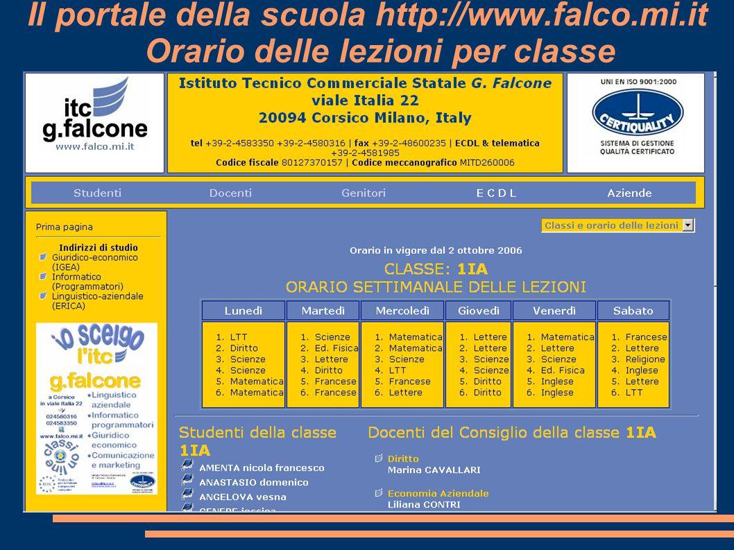 Il portale della scuola http://www.falco.mi.it Orario delle lezioni per classe