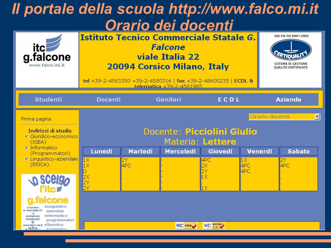 Il portale della scuola http://www.falco.mi.it Orario dei docenti
