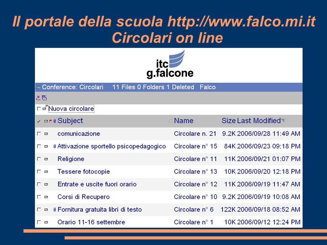 Il portale della scuola http://www.falco.mi.it Circolari on line