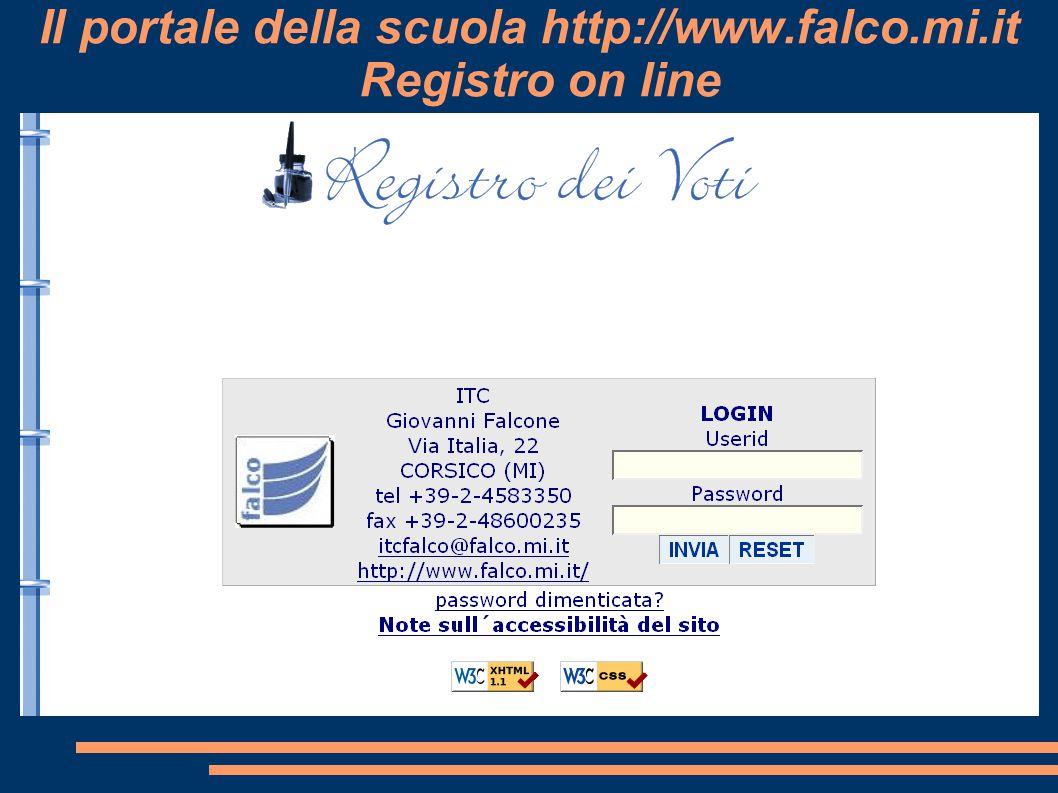 Il portale della scuola http://www.falco.mi.it Registro on line