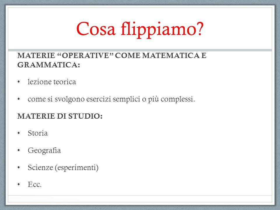 """Cosa flippiamo? MATERIE """"OPERATIVE"""" COME MATEMATICA E GRAMMATICA: lezione teorica come si svolgono esercizi semplici o più complessi. MATERIE DI STUDI"""