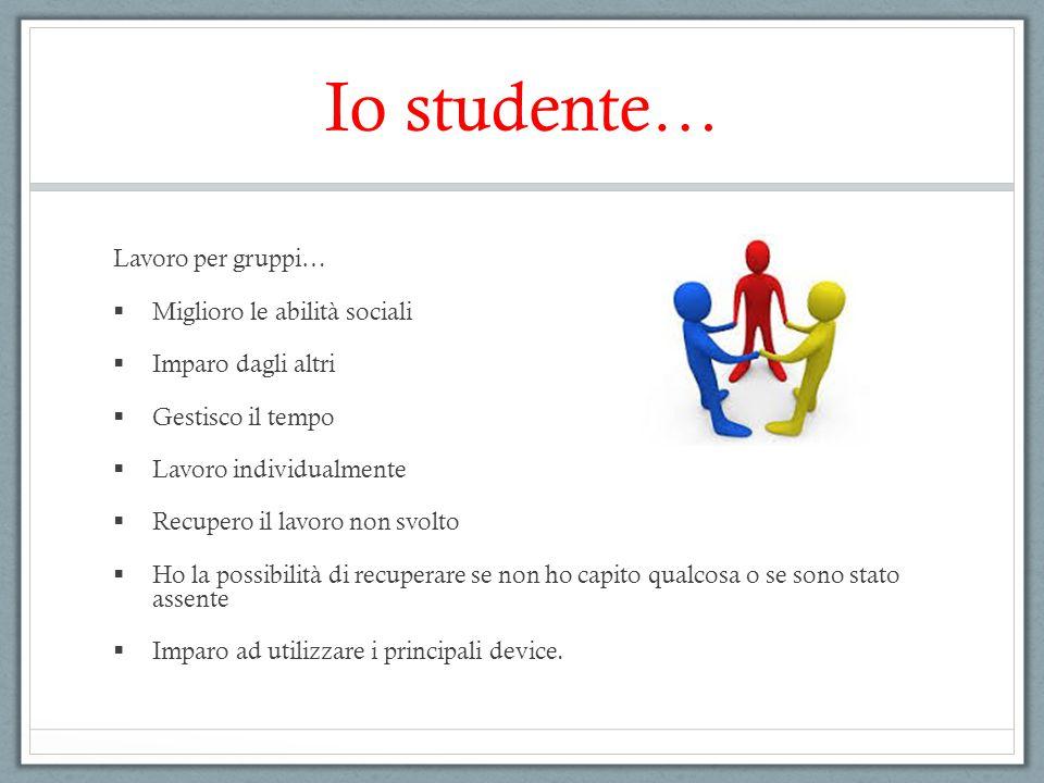 Io studente… Lavoro per gruppi…  Miglioro le abilità sociali  Imparo dagli altri  Gestisco il tempo  Lavoro individualmente  Recupero il lavoro n