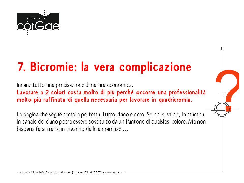 7. Bicromie: la vera complicazione Innanzitutto una precisazione di natura economica.