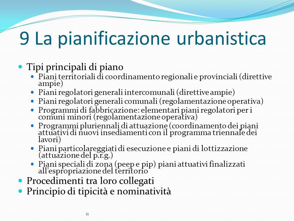 11 9 La pianificazione urbanistica Tipi principali di piano Piani territoriali di coordinamento regionali e provinciali (direttive ampie) Piani regola