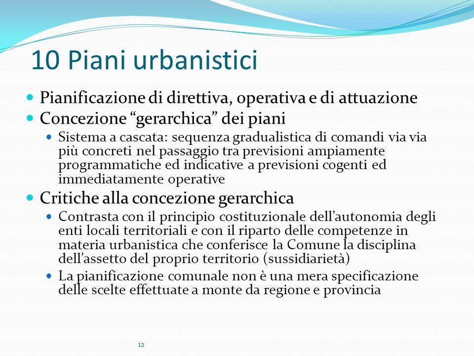"""12 10 Piani urbanistici Pianificazione di direttiva, operativa e di attuazione Concezione """"gerarchica"""" dei piani Sistema a cascata: sequenza gradualis"""