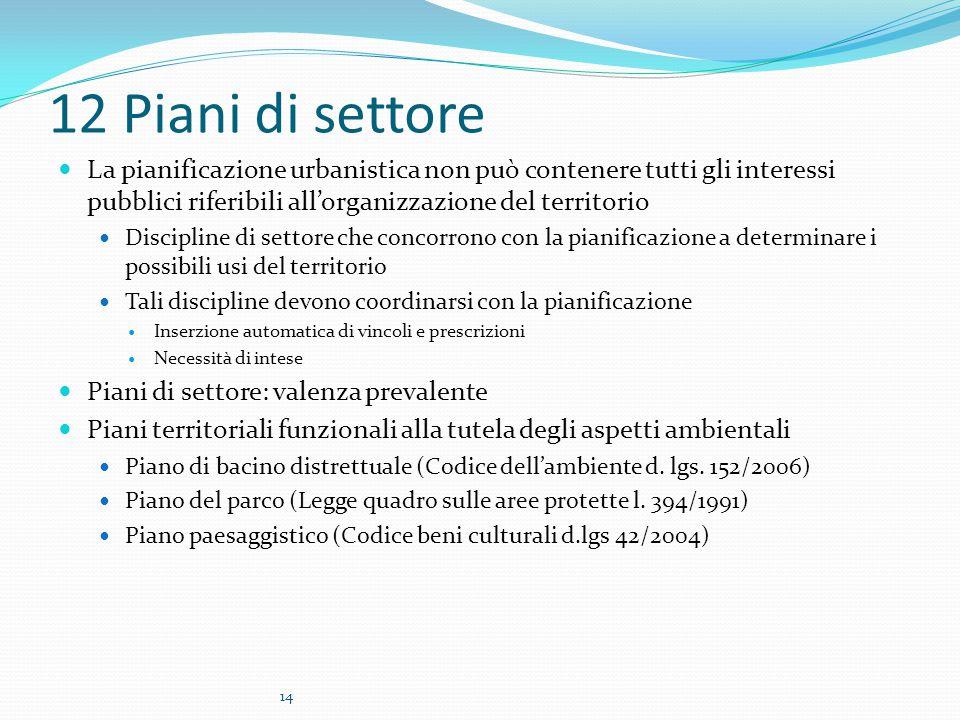 14 12 Piani di settore La pianificazione urbanistica non può contenere tutti gli interessi pubblici riferibili all'organizzazione del territorio Disci