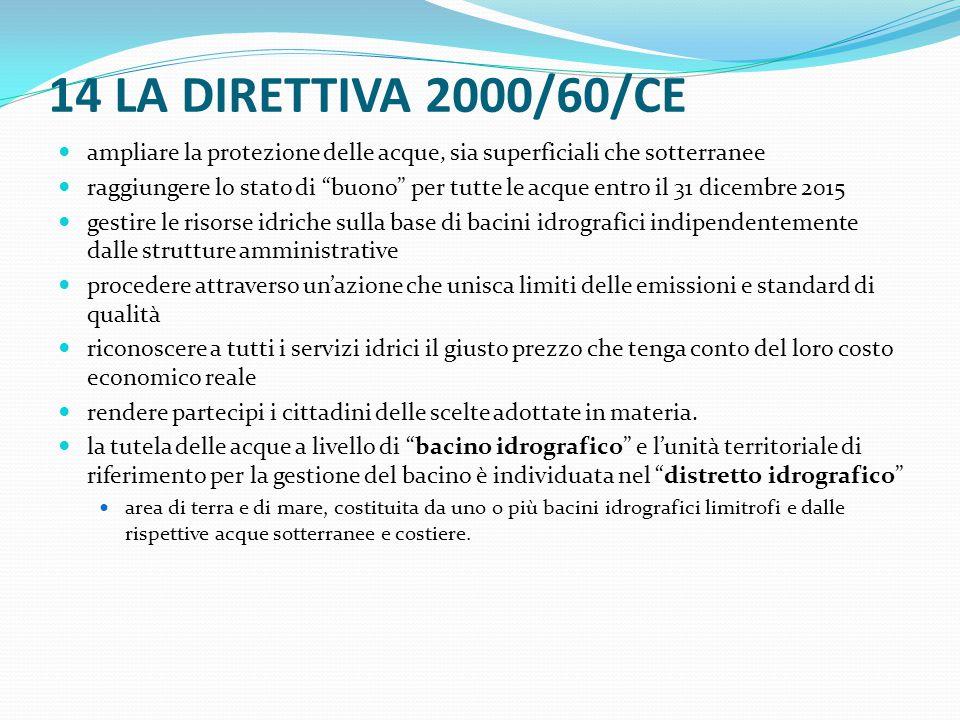 """14 LA DIRETTIVA 2000/60/CE ampliare la protezione delle acque, sia superficiali che sotterranee raggiungere lo stato di """"buono"""" per tutte le acque ent"""