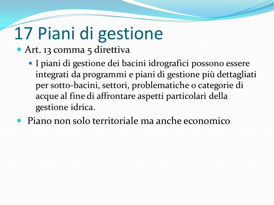 17 Piani di gestione Art. 13 comma 5 direttiva I piani di gestione dei bacini idrografici possono essere integrati da programmi e piani di gestione pi