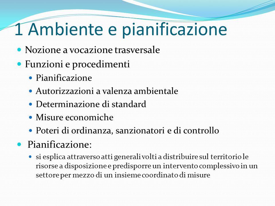 1 Ambiente e pianificazione Nozione a vocazione trasversale Funzioni e procedimenti Pianificazione Autorizzazioni a valenza ambientale Determinazione