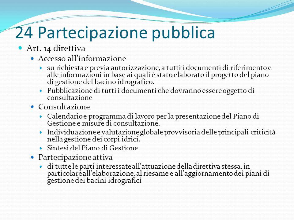 24 Partecipazione pubblica Art. 14 direttiva Accesso all'informazione su richiesta e previa autorizzazione, a tutti i documenti di riferimento e alle