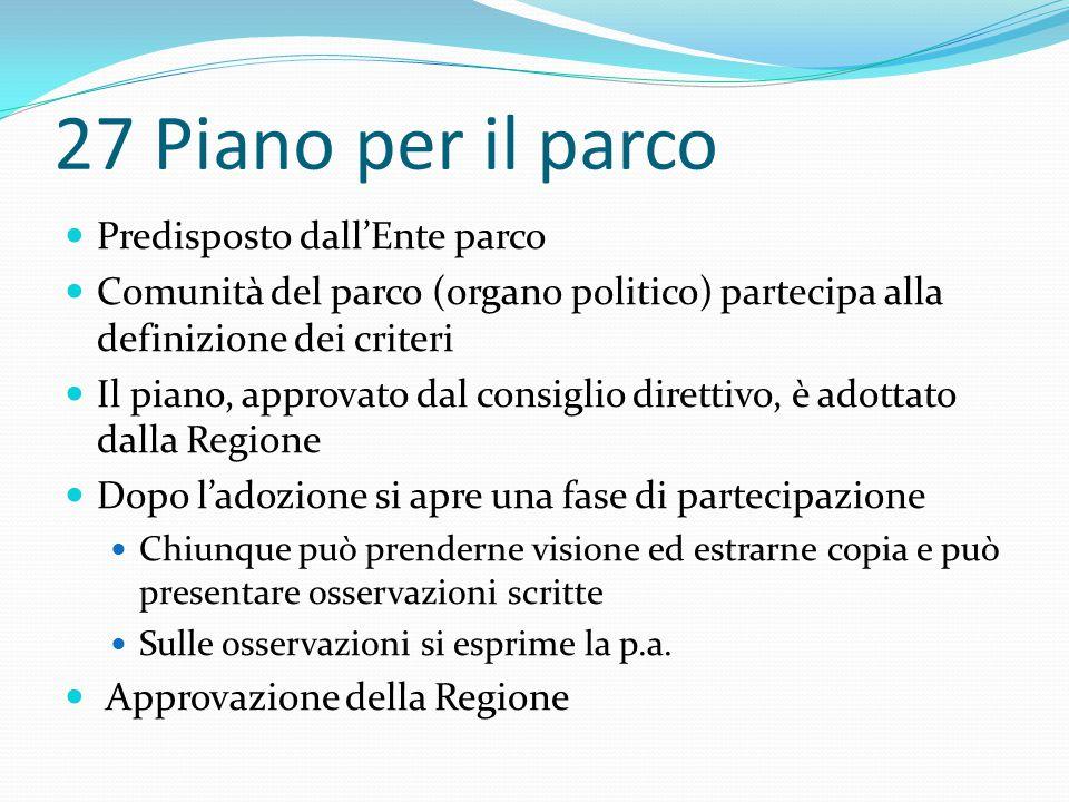 27 Piano per il parco Predisposto dall'Ente parco Comunità del parco (organo politico) partecipa alla definizione dei criteri Il piano, approvato dal
