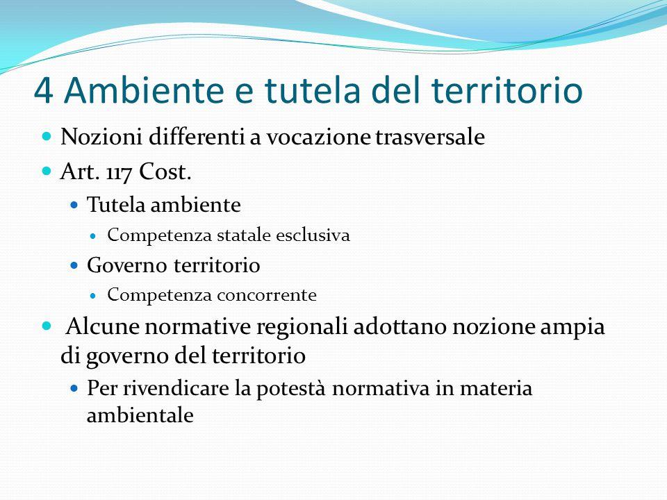 4 Ambiente e tutela del territorio Nozioni differenti a vocazione trasversale Art. 117 Cost. Tutela ambiente Competenza statale esclusiva Governo terr