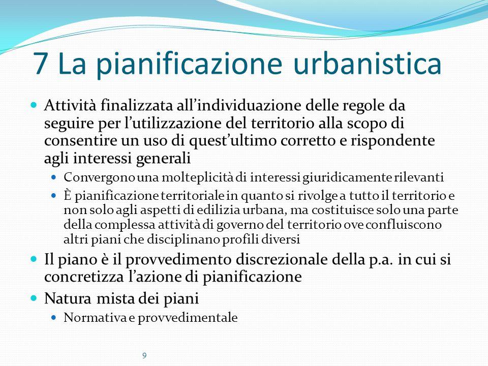 9 7 La pianificazione urbanistica Attività finalizzata all'individuazione delle regole da seguire per l'utilizzazione del territorio alla scopo di con