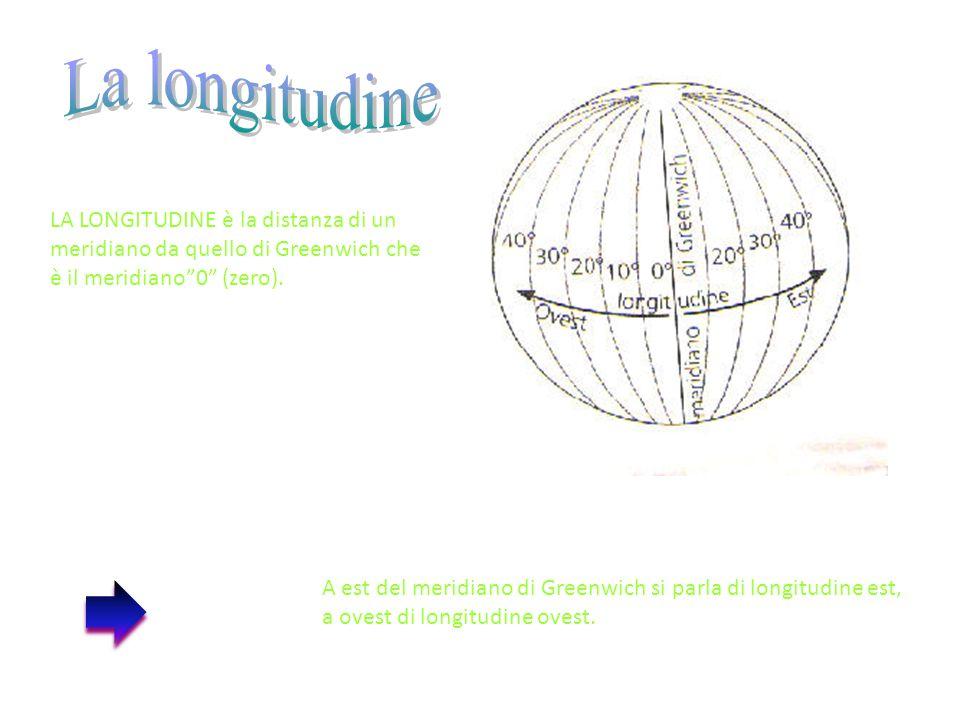 """LA LONGITUDINE è la distanza di un meridiano da quello di Greenwich che è il meridiano""""0"""" (zero). A est del meridiano di Greenwich si parla di longitu"""