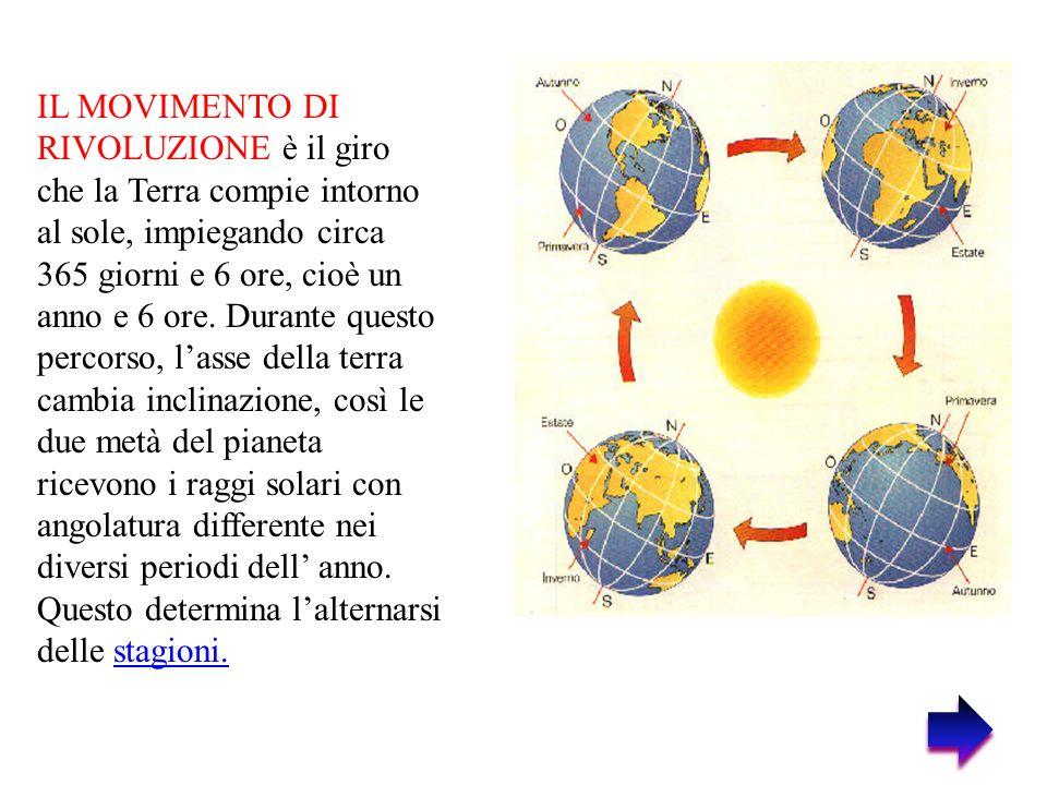 IL MOVIMENTO DI RIVOLUZIONE è il giro che la Terra compie intorno al sole, impiegando circa 365 giorni e 6 ore, cioè un anno e 6 ore. Durante questo p