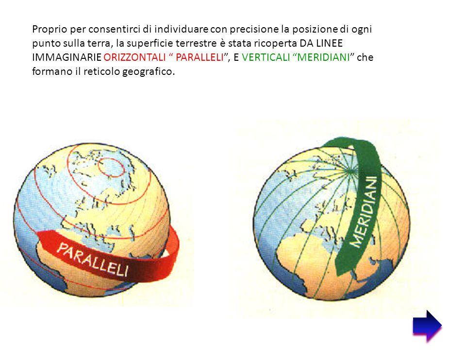 Proprio per consentirci di individuare con precisione la posizione di ogni punto sulla terra, la superficie terrestre è stata ricoperta DA LINEE IMMAG