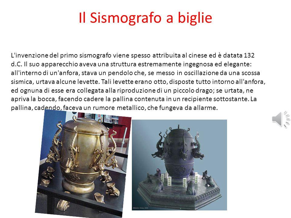 Il Sismografo a biglie L invenzione del primo sismografo viene spesso attribuita al cinese ed è datata 132 d.C.