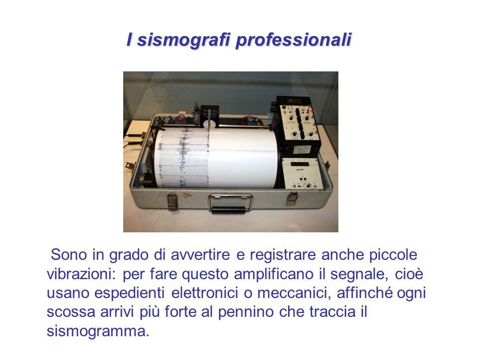 I sismografi professionali Sono in grado di avvertire e registrare anche piccole vibrazioni: per fare questo amplificano il segnale, cioè usano espedi