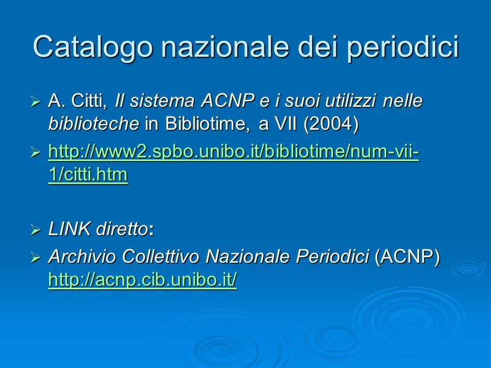 Catalogo nazionale dei periodici  A.