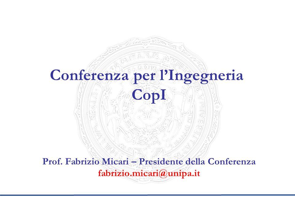 Conferenza per l'Ingegneria CopI Prof. Fabrizio Micari – Presidente della Conferenza fabrizio.micari@unipa.it