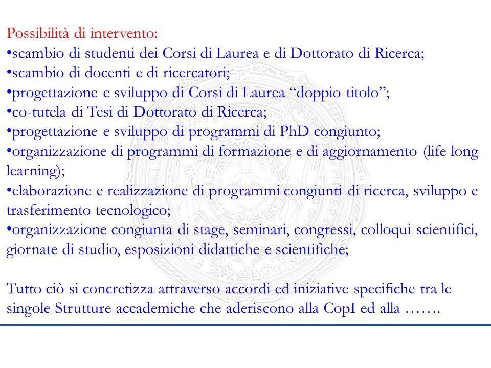 Possibilità di intervento: scambio di studenti dei Corsi di Laurea e di Dottorato di Ricerca; scambio di docenti e di ricercatori; progettazione e svi
