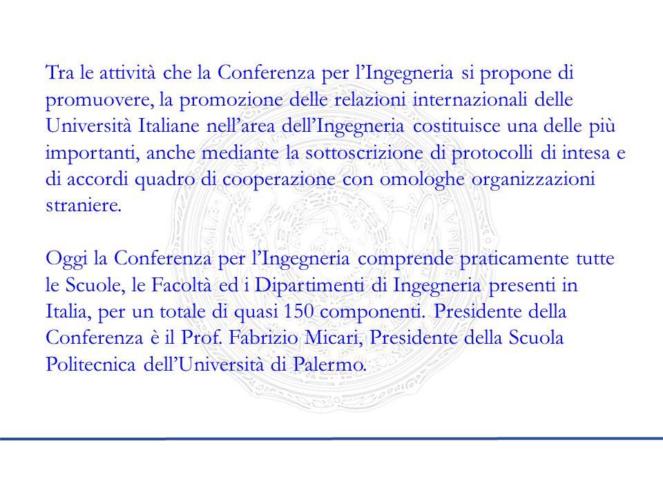 Tra le attività che la Conferenza per l'Ingegneria si propone di promuovere, la promozione delle relazioni internazionali delle Università Italiane ne