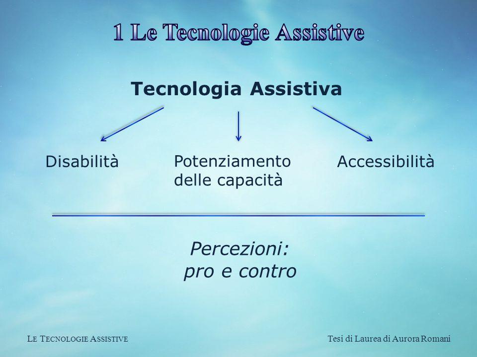L E T ECNOLOGIE A SSISTIVE Tesi di Laurea di Aurora Romani Tecnologia Assistiva Disabilità Potenziamento delle capacità Accessibilità Percezioni: pro e contro
