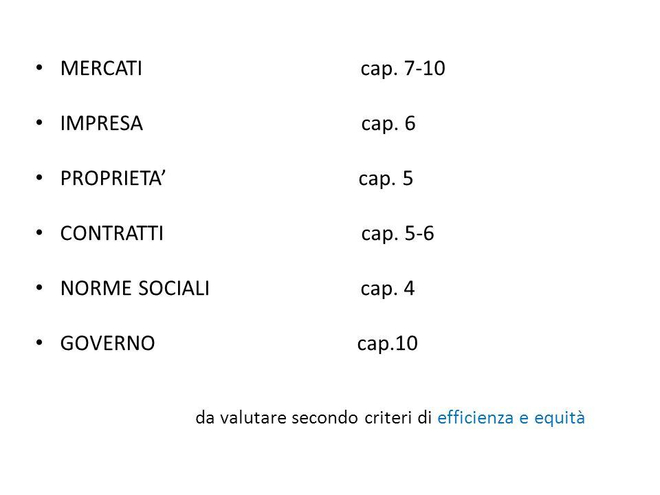 MERCATI cap. 7-10 IMPRESA cap. 6 PROPRIETA' cap.