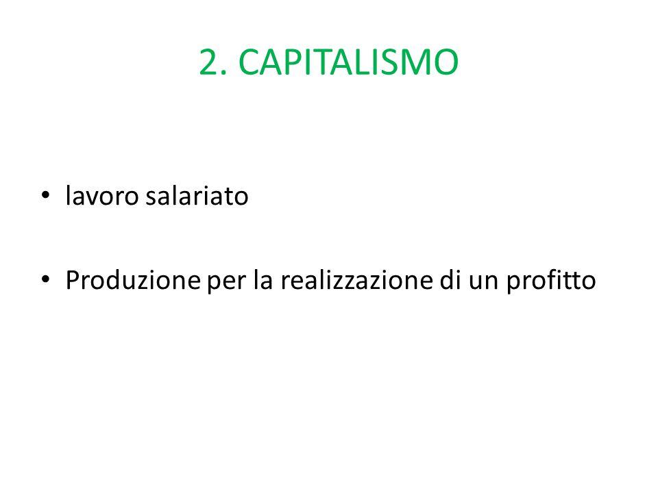 2. CAPITALISMO lavoro salariato Produzione per la realizzazione di un profitto