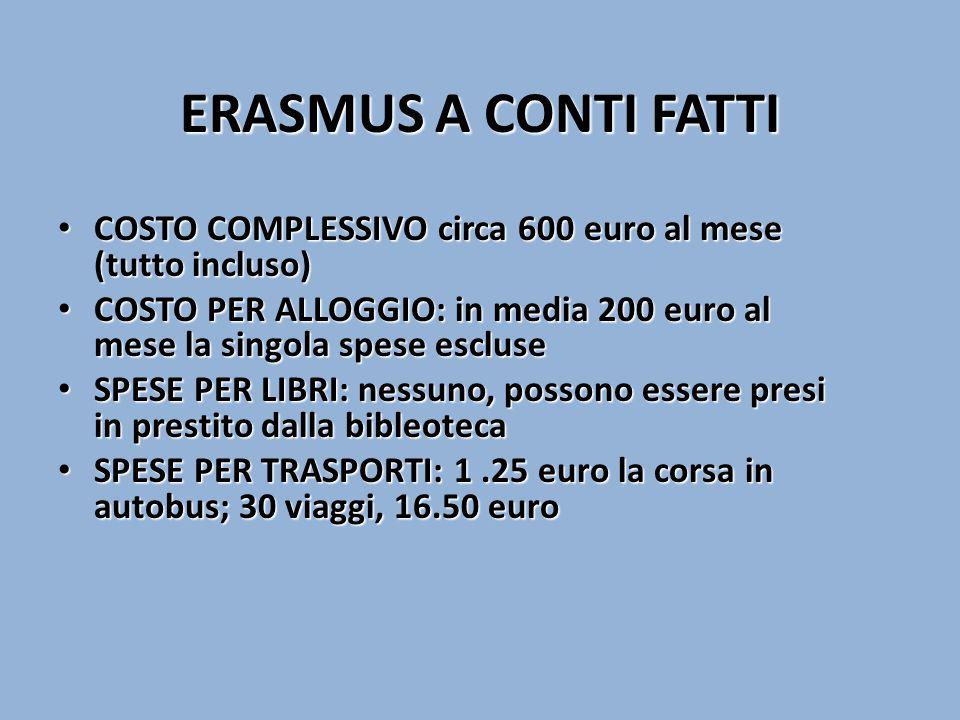 ERASMUS A CONTI FATTI COSTO COMPLESSIVO circa 600 euro al mese (tutto incluso) COSTO COMPLESSIVO circa 600 euro al mese (tutto incluso) COSTO PER ALLOGGIO: in media 200 euro al mese la singola spese escluse COSTO PER ALLOGGIO: in media 200 euro al mese la singola spese escluse SPESE PER LIBRI: nessuno, possono essere presi in prestito dalla bibleoteca SPESE PER LIBRI: nessuno, possono essere presi in prestito dalla bibleoteca SPESE PER TRASPORTI: 1.25 euro la corsa in autobus; 30 viaggi, 16.50 euro SPESE PER TRASPORTI: 1.25 euro la corsa in autobus; 30 viaggi, 16.50 euro