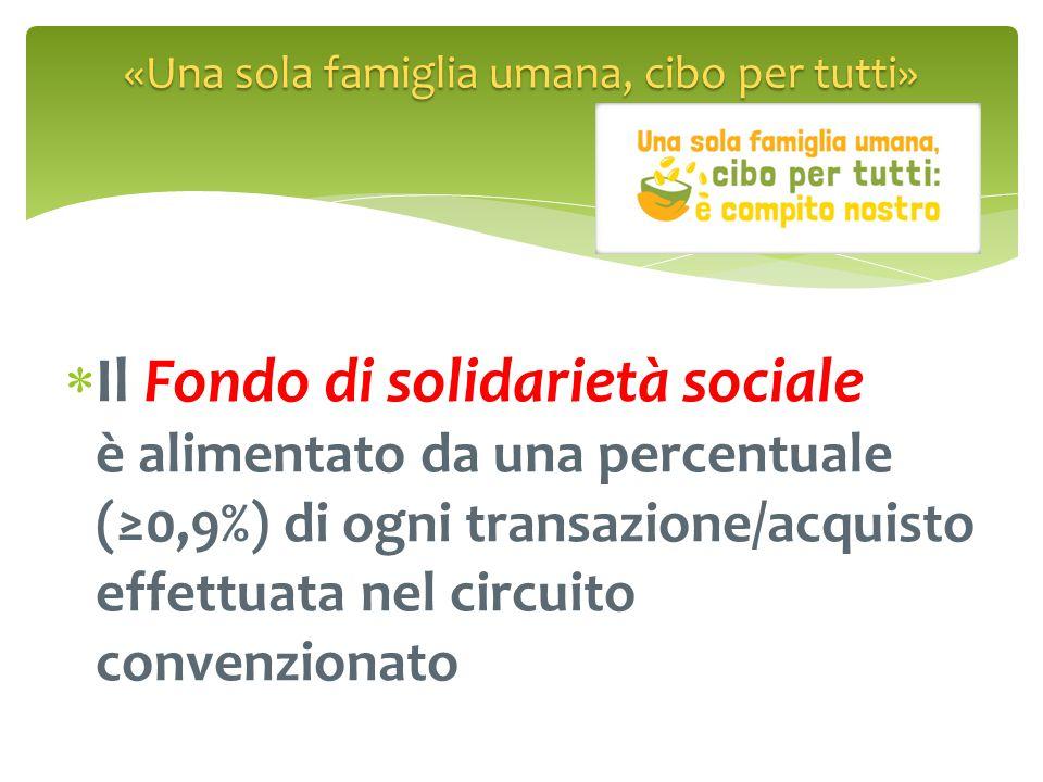  Il Fondo di solidarietà sociale è alimentato da una percentuale (≥0,9%) di ogni transazione/acquisto effettuata nel circuito convenzionato «Una sola