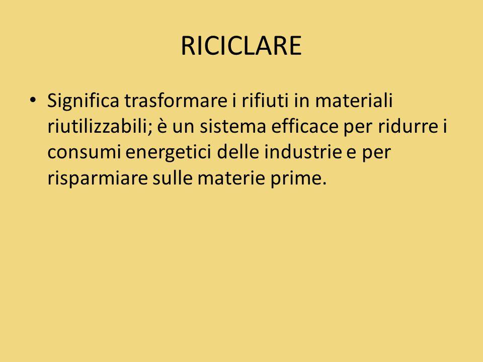 RICICLARE Significa trasformare i rifiuti in materiali riutilizzabili; è un sistema efficace per ridurre i consumi energetici delle industrie e per ri