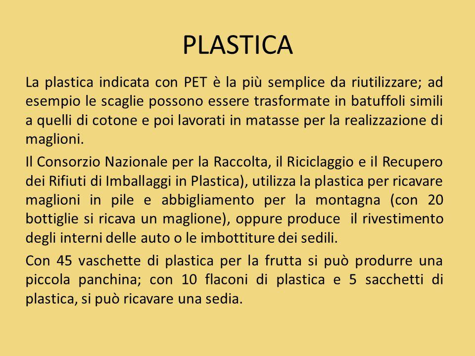 PLASTICA La plastica indicata con PET è la più semplice da riutilizzare; ad esempio le scaglie possono essere trasformate in batuffoli simili a quelli