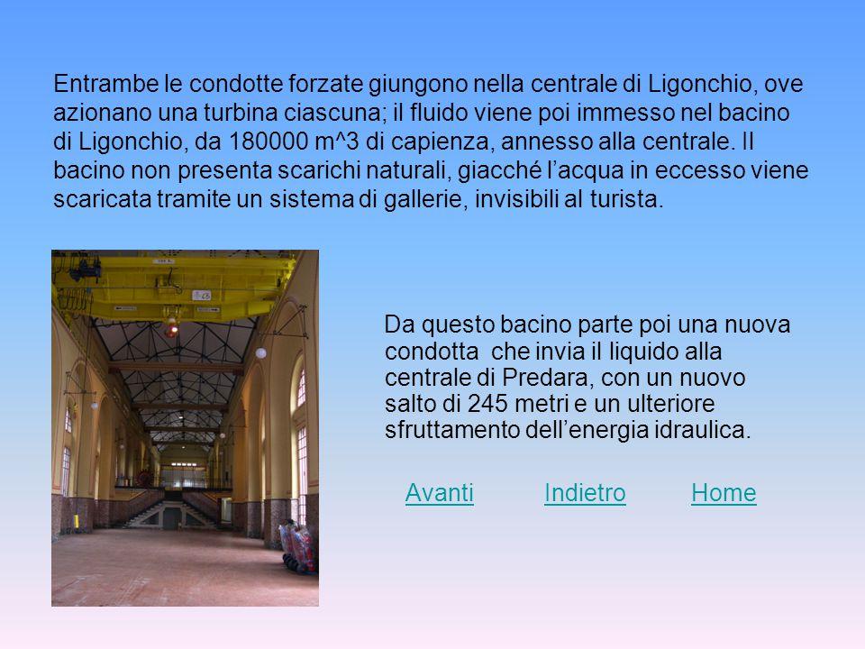 Entrambe le condotte forzate giungono nella centrale di Ligonchio, ove azionano una turbina ciascuna; il fluido viene poi immesso nel bacino di Ligonchio, da 180000 m^3 di capienza, annesso alla centrale.