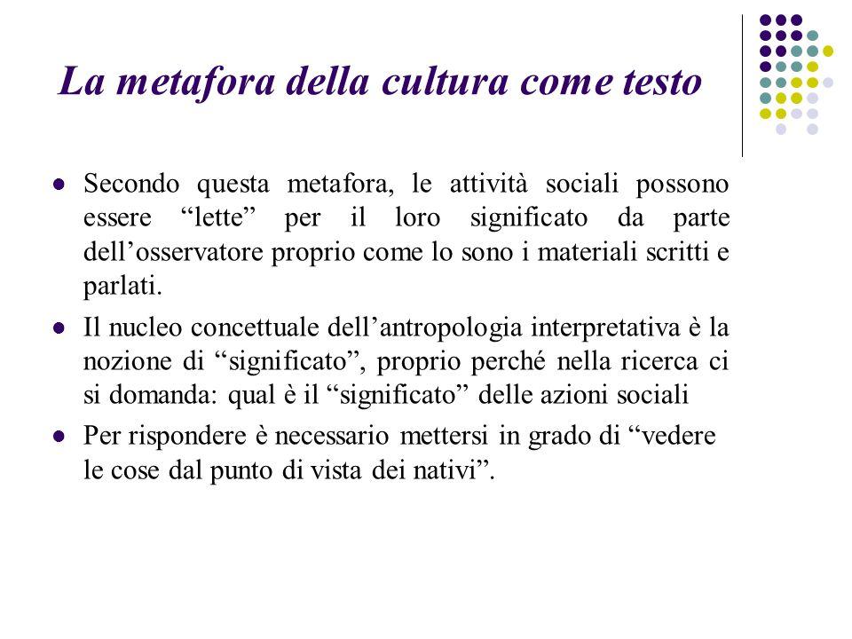 """La metafora della cultura come testo Secondo questa metafora, le attività sociali possono essere """"lette"""" per il loro significato da parte dell'osserva"""